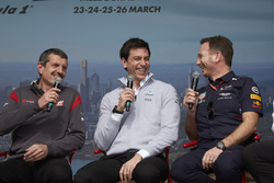 Guenther Steiner, Haas F1 Team, Toto Wolff, Mercedes AMG y Christian Horner, Red Bull Racing