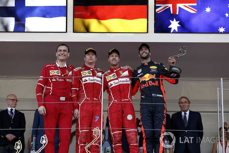 6º Podio del GP de Mónaco 2017 - Kimi Raikkonen, Ferrari; 1º Sebastian Vettel, Ferrari; 3º Daniel Ricciardo, Red Bull Racing