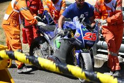 La moto endommagée de Maverick Viñales, Yamaha Factory Racing