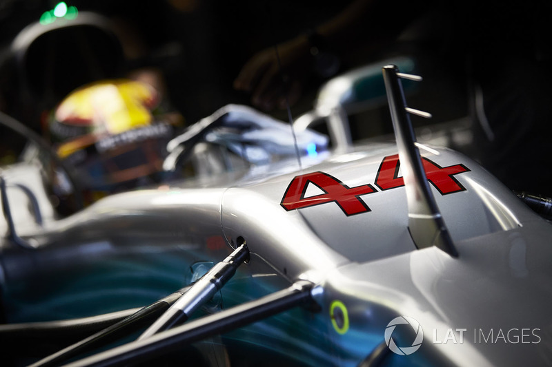 The race number on the car of Lewis Hamilton, Mercedes AMG F1 W08