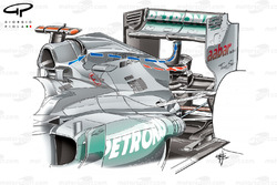 Mercedes W03 DRD (Drag Reduction Device) air taken in by additional inlets fitted around the airbox is either distributed trhough the lower outlet (red arrows) or out through the periscope at higher speeds to 'stall' the rear wing