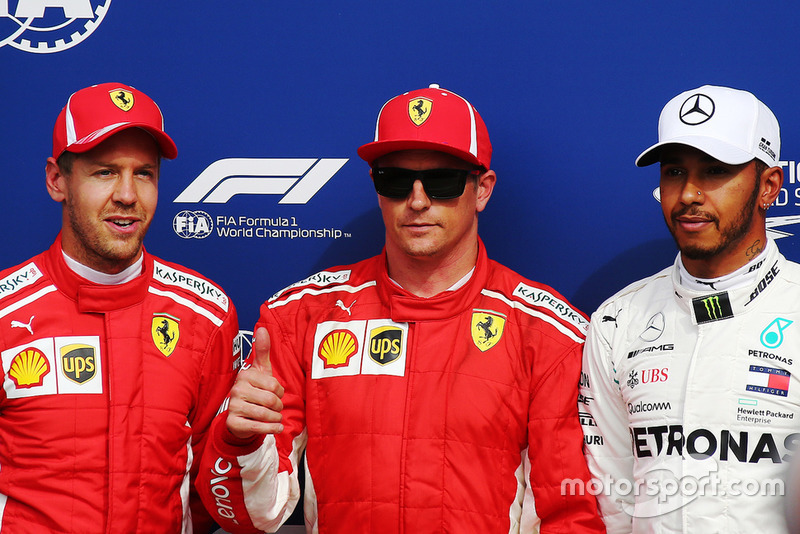 Kimi Raikkonen, Ferrari SF71H, Sebastian Vettel, Ferrari SF71H, Lewis Hamilton, Mercedes AMG F1