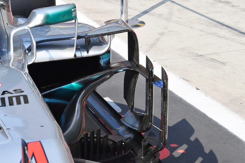 Mercedes AMG F1 W09 detalle de la barcaza