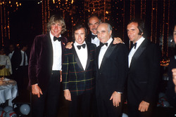 Monaco 1981, James Hunt, Jackie Stewart, Juan Manuel Fangio, Emerson Fittipaldi con Sean Connery