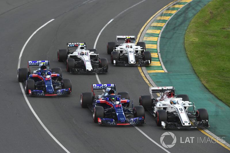 Marcus Ericsson, Sauber C37, Brendon Hartley, Scuderia Toro Rosso STR13, Pierre Gasly, Scuderia Toro Rosso STR13, Sergey Sirotkin, Williams FW41, Charles Leclerc, Sauber C37