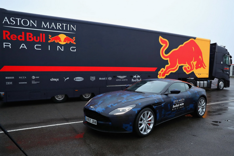 red bull racing, aston martin db11 at red bull racing rb14 launch on