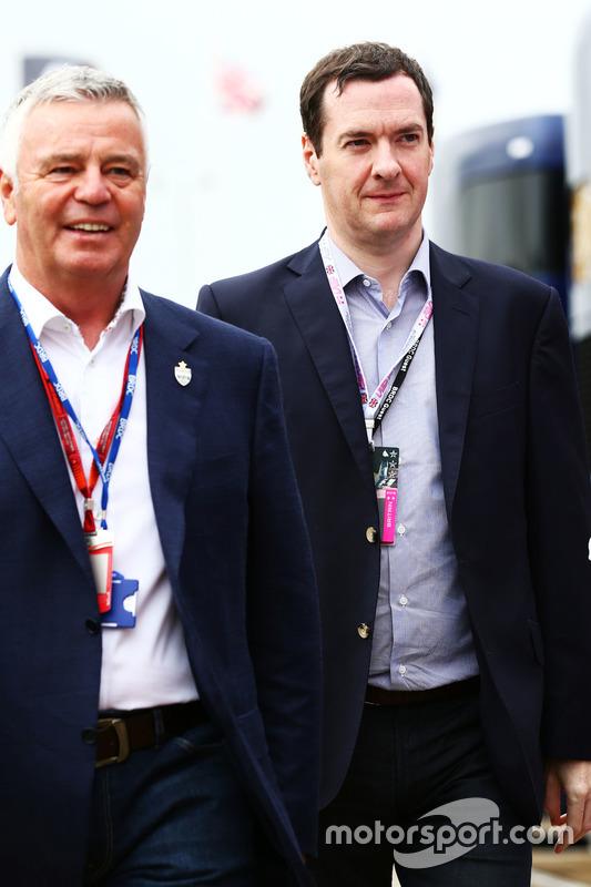 (L to R): Derek Warwick, with George Osborne MP, Chancellor of the Exchequer