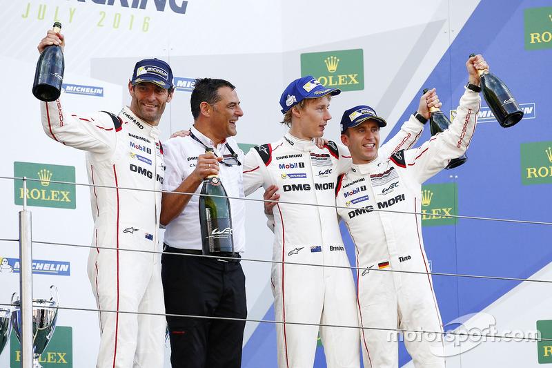 Race winners #1 Porsche Team Porsche 919 Hybrid: Timo Bernhard, Mark Webber, Brendon Hartley with Michael Steiner, Member of the Executive Board - Research and Development Porsche AG
