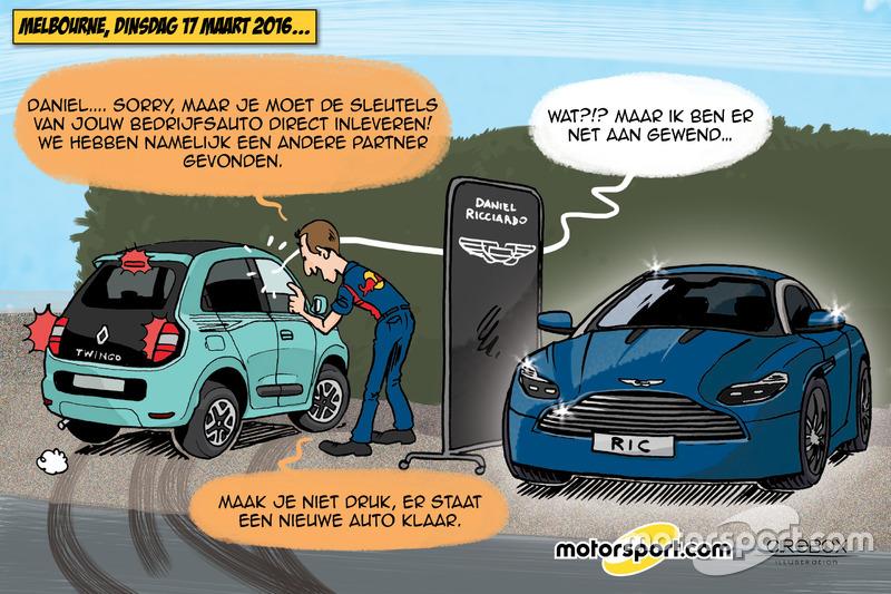 Cartoon van Cirebox - Ricciardo's nieuwe bedrijfsauto