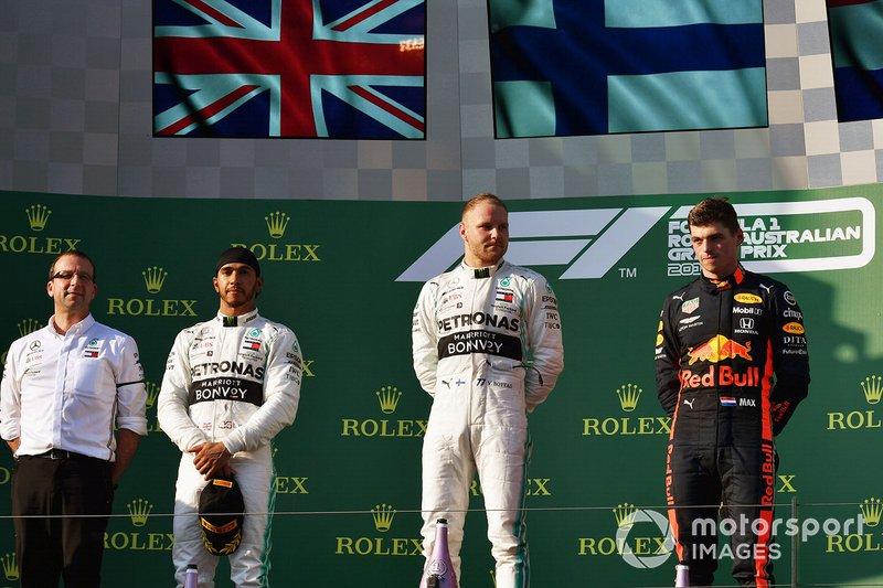 2019: 1. Valtteri Bottas, 2. Lewis Hamilton, 3. Max Verstappen