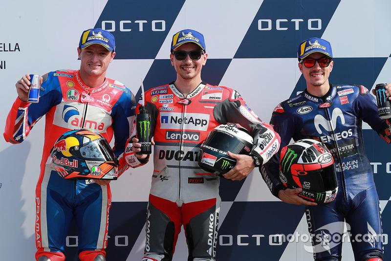Poleman Jorge Lorenzo, Ducati Team, segundo Jack Miller, Pramac Racing, tercero Maverick Viñales, Yamaha Factory Racing