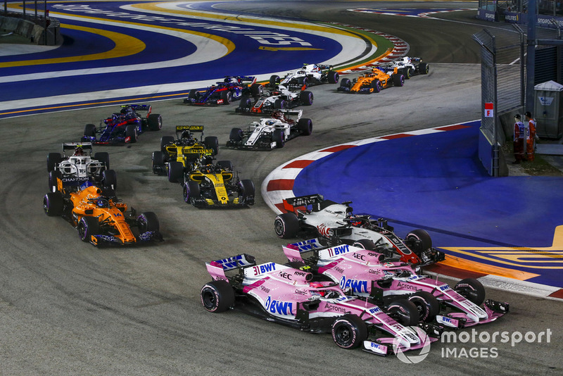 Естебан Окон, Racing Point Force India VJM11, Серхіо Перес, Racing Point Force India VJM11, Ромен Грожан, Haas F1 Team VF-18