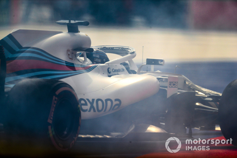 Lance Stroll, Williams FW41, spins his car