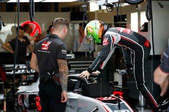 Louis Deletraz, Haas test and development driver, enters his cockpit
