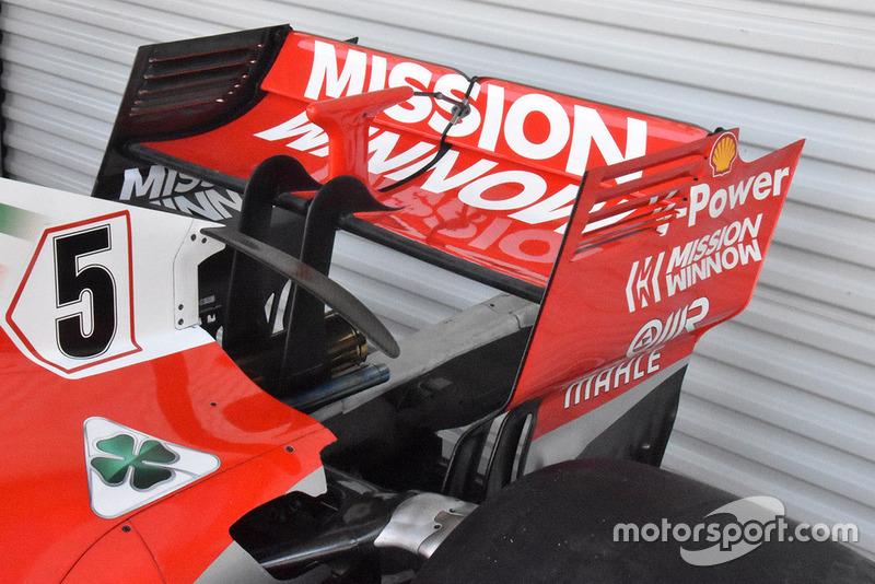 Ferrari parece que usará el alerón trasero de alta carga aerodinámica en México, pero no tiene las pletinas de compensación utilizadas en carreras anteriores