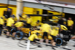The Renault Sport F1 Team practices a pit stop