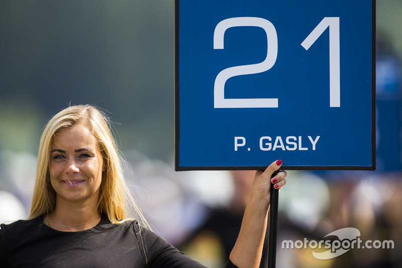 Grid girl for Pierre Gasly, PREMA Racing