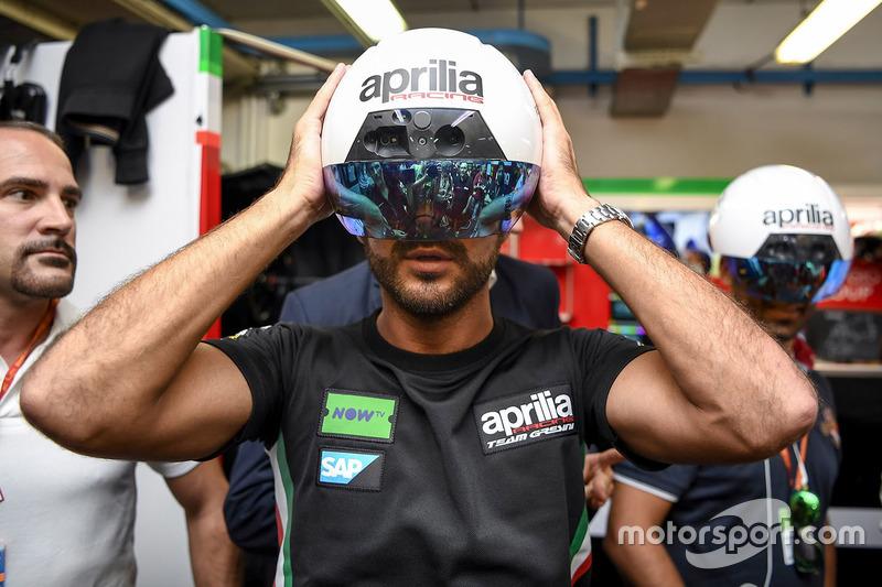 AR Helmet for mechanics of Aprilia Racing Team Gresini