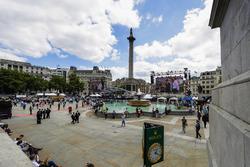 Crowds gather under Nelson's Column in Trafalgar Square