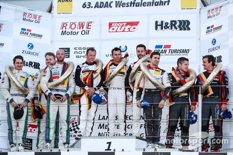 Podium: 1. #911 Manthey Racing, Porsche 911 GT3 R: Romian Dumas, Frédéric Makowiecki, Patrick Pilet; 2. #38 Bentley Team Abt, Bentley Continental GT3: Christer Jöns, Christopher Brück, Jordan Pepper; 3. #28 Audi Sport Team Land Motorsport; Christopher Mies, Connor De Phillippi, Markus Winkelhock
