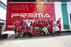Charles Leclerc, PREMA Powerteam and Antonio Fuoco, PREMA Powerteam celebrate with their team