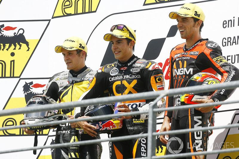 Podium: 1. Marc Marquez, 2. Stefan Bradl, 3. Alex de Angelis