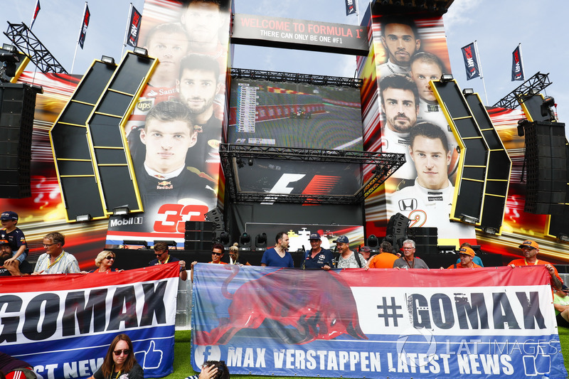 Banners of support for Max Verstappen, Red Bull