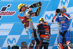 Podium: race winner Franco Morbidelli, Marc VDS, second place Mattia Pasini, Italtrans Racing Team, third place Miguel Oliveira, Red Bull KTM Ajo