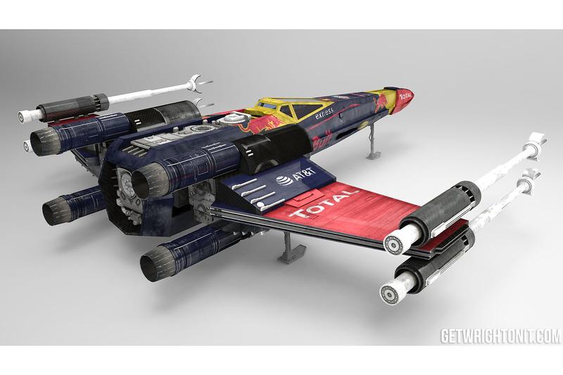 Star Wars X-Wing con la decoración de Red Bull Racing