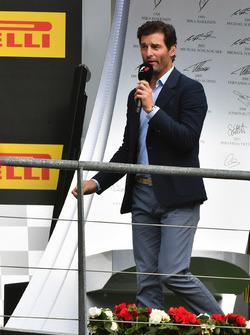 Mark Webber, on the podium