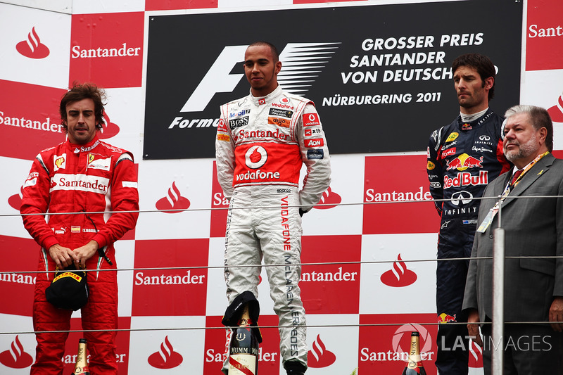 2011: 1. Lewis Hamilton, 2. Fernando Alonso, 3. Mark Webber