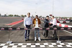 COTA chairman Bobby Epstein and Lewis Hamilton, Mercedes AMG F1, open the kart track