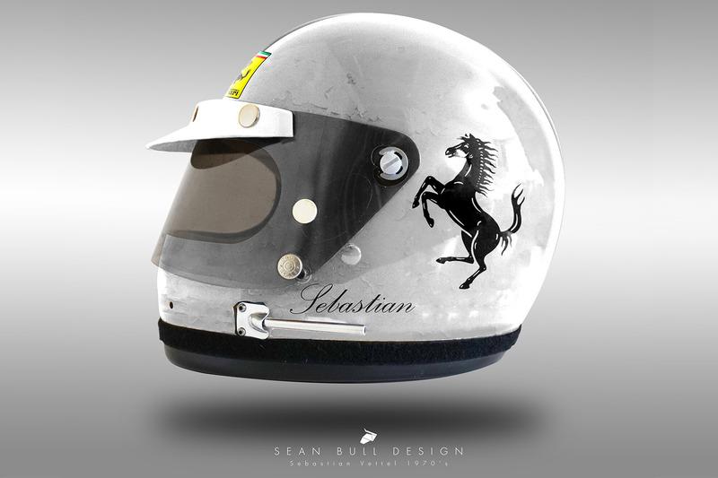 Casco concepto 1970 de Sebastian Vettel