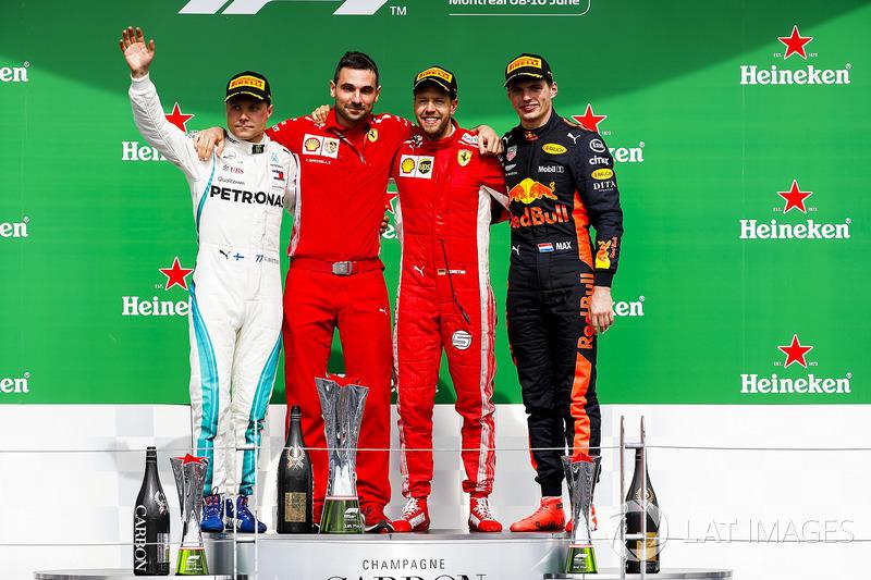 Valtteri Bottas, Mercedes AMG F1, 2nd position, Nicola Bariselli, Race Engineer, Ferrari, Sebastian Vettel, Ferrari, 1st position, and Max Verstappen, Red Bull Racing, 3rd position, on the podium