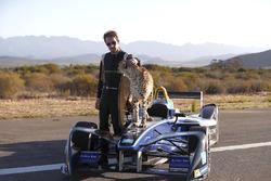 Jean-Eric Vergne al fianco di un ghepardo