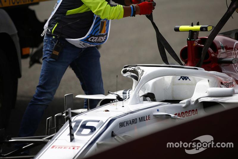 Charles Leclerc, Alfa Romeo Sauber C37 tras el accidente