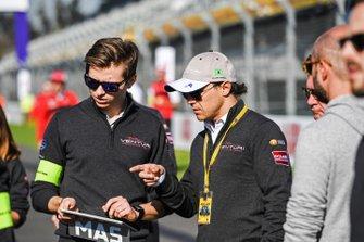 Felipe Massa, Venturi Formula E, on a track walk with a team member