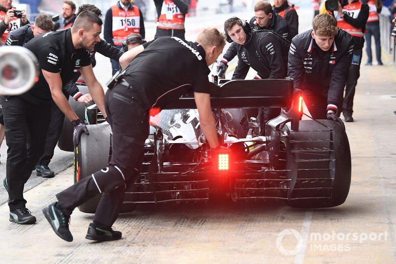 Valtteri Bottas, Mercedes-AMG F1 W10, con sensores aerodinámicos
