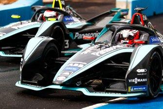 Mitch Evans, Panasonic Jaguar Racing, Jaguar I-Type 3, Nelson Piquet Jr., Panasonic Jaguar Racing, Jaguar I-Type 3 exit the pit lane
