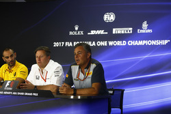 Cyril Abiteboul, Managing Director, Renault Sport F1 Team, Zak Brown, Executive Director, McLaren Technology Group, Mario Isola, Racing Manager, Pirelli Motorsport, in the press conference