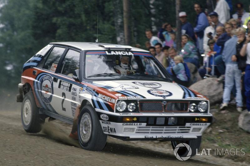 Juha Kankkunen, sur une Lancia Delta Integrale lors du Rallye de Finlande 1991