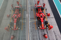 Sebastian Vettel, Ferrari SF70H makes a practice pitstop
