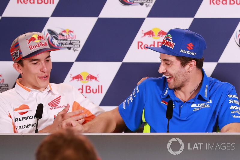 Marc Marquez, Repsol Honda Team, Andrea Iannone, Team Suzuki MotoGP lors de la conférence de presse