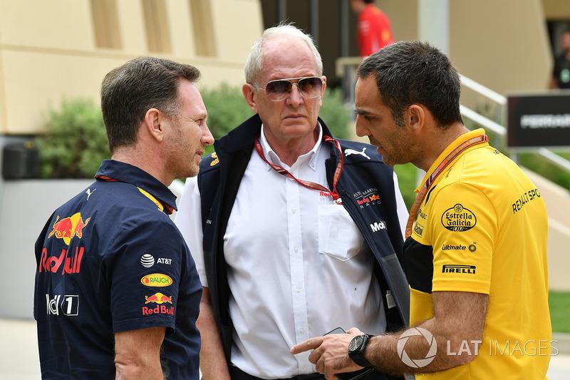 Christian Horner, Red Bull Racing Team Principal, Dr Helmut Marko, Red Bull Motorsport Consultant and Cyril Abiteboul, Renault Sport F1 Managing Director