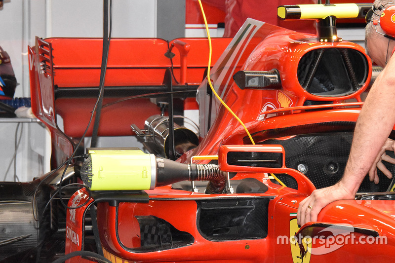 Dettaglio dell'ala posteriore della monoposto di Kimi Raikkonen, Ferrari SF71H