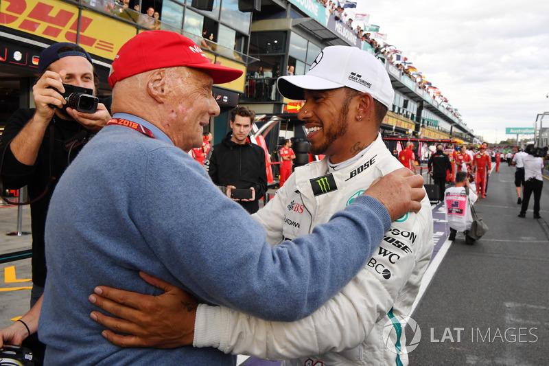 Pole poziayonu galibi Lewis Hamilton, Mercedes-AMG F1, Niki Lauda, Mercedes AMG F1