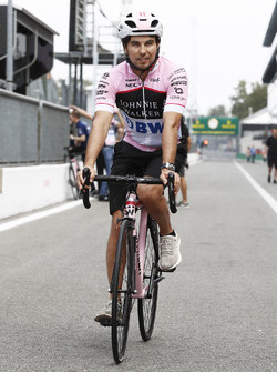 Sergio Perez, Force India, on a bicycle