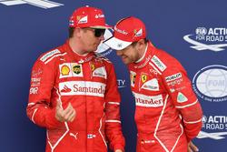 Kimi Raikkonen, Ferrari and Sebastian Vettel, Ferrari celebrate in parc ferme