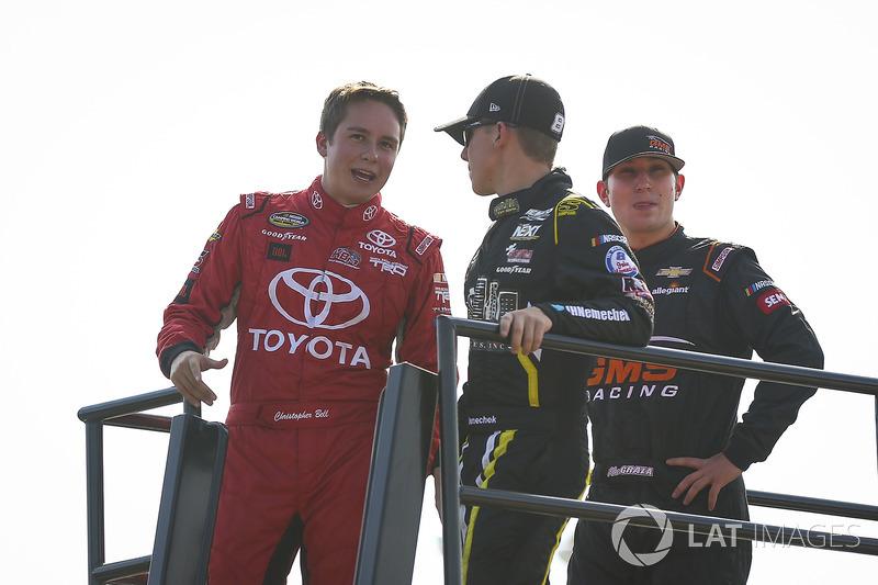 Christopher Bell, Kyle Busch Motorsports Toyota, John Hunter Nemechek, SWM-NEMCO Motorsports Chevrolet, Kaz Grala, GMS Racing Chevrolet
