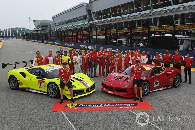 Kimi Raikkonen, Ferrari, Sebastian Vettel, Ferrari and Maurizio Arrivabene, Ferrari Team Principal, the Ferrari Challenge Asia Pacific 2017 drivers